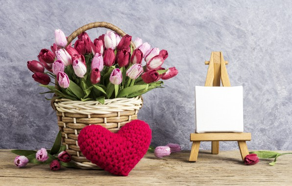 Picture love, flowers, heart, tulips, love, pink, basket, vintage, heart, wood, pink, flowers, beautiful, romantic, tulips