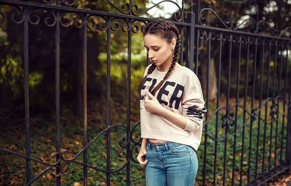 Picture girl, Model, long hair, trees, brown hair, photo, photographer, park, fence, lips, jeans, face, brunette, …