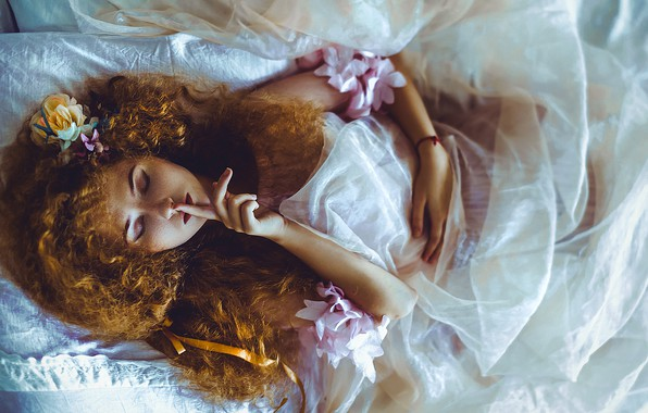 Picture girl, flowers, hair, red, curls, gesture, redhead, closed eyes, Ruslan Bolgov