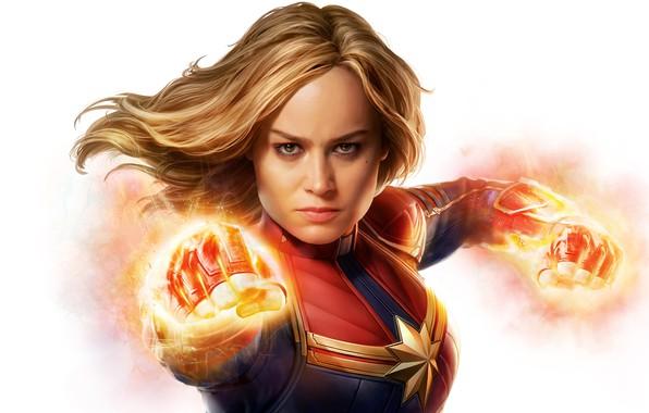 Picture fiction, costume, white background, comic, MARVEL, Carol Danvers, Captain Marvel, Captain Marvel, Brie Larson, Brie ...