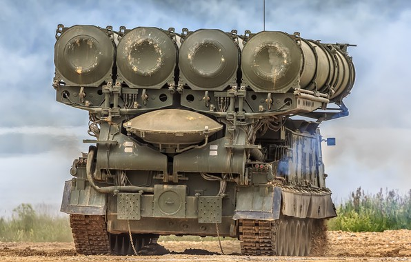 Picture rear view, SAM, anti-aircraft missile system, Antey-300V, S-300V, Launcher 9А83