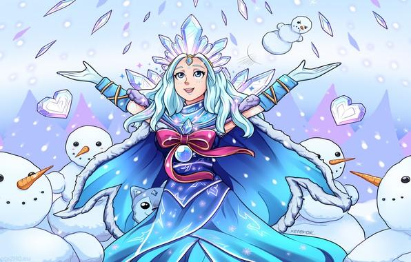 Picture winter, girl, snow, figure, art, snowman, Dota 2, Crystal maiden, Keterok