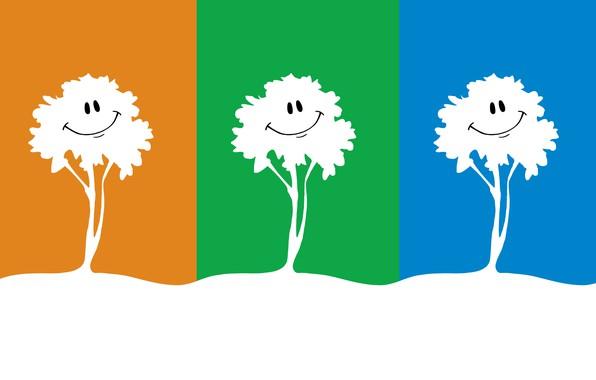 Picture trees, nature, smile, tree, figure, graphics, three, bright colors, three, smile, bright colors, Trinity, multicolored