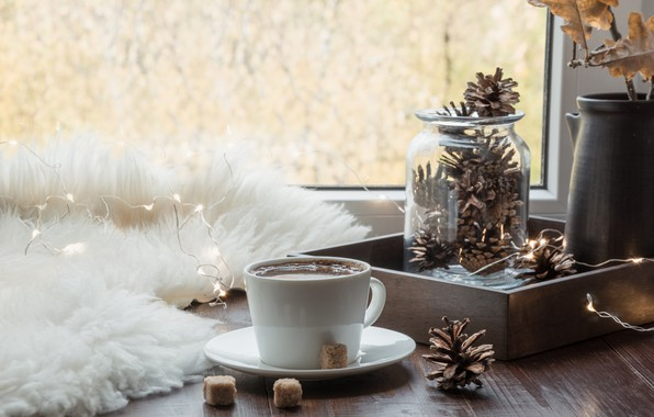 Picture autumn, coffee, window, Cup, fur
