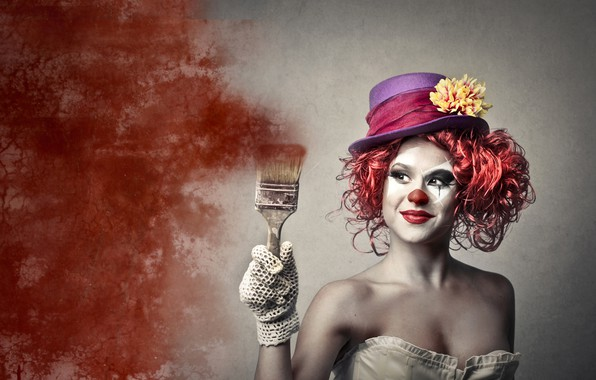 Picture girl, pose, background, paint, hand, portrait, hat, makeup, clown, hairstyle, outfit, red, brush, glove, makeup, …