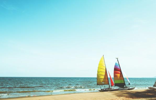 Photo Wallpaper Sand Sea Wave Beach Summer Boat Sailboat