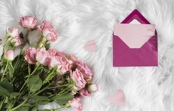 Picture Love, roses, bouquet, fur, the envelope