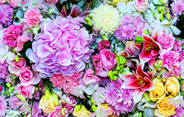 Picture bright colors, flowers, rendering, roses, petals, tulips, picture, carnation, hydrangea, asters, flower cuts