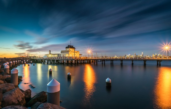 Picture the sky, clouds, sunset, the city, lights, stones, shore, coast, home, the evening, Australia, lights, …