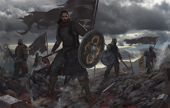 Picture the sky, weapons, warrior, armor, banner, Viking