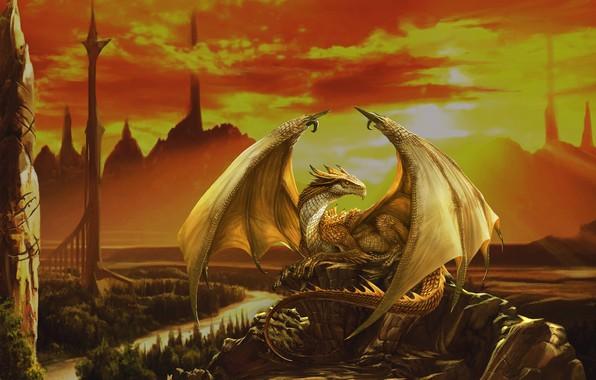 Picture fantasy, dragon, art, Godfrey Escota, Pyrox