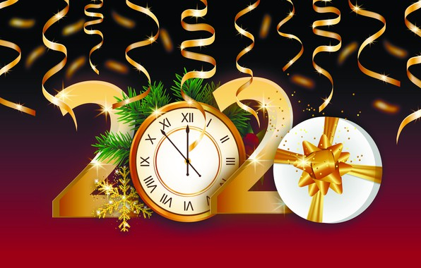 Picture photo, Watch, Snowflakes, New year, Gifts, 2020, Vector graphics