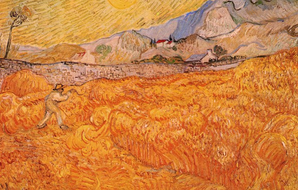 Picture the sun, Vincent van Gogh, Wheat Fields, working in the field, with Reaper at Sunrise