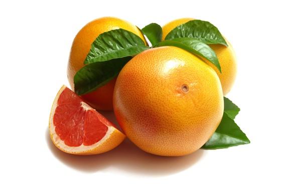 Picture leaves, close-up, slice, white background, fruit, grapefrukt