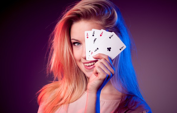 Picture card, girl, 4 aces