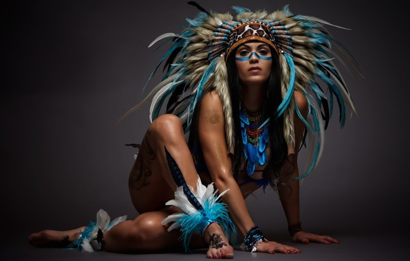 Picture girl, pose, feathers