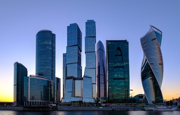 Picture the sky, reflection, sunset, the city, home, skyscrapers, the evening, Russia, Russia, capital, Moscow-City, The ...