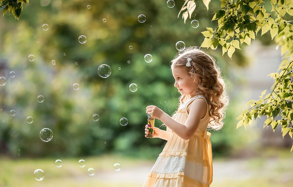 Picture summer, leaves, branches, nature, the game, bubbles, girl, child, A Diakov George