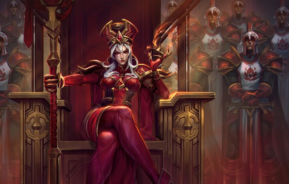 Picture girl, sword, World of Warcraft, fantasy, game, Warcraft, soldiers, armor, crown, red eyes, weapons, queen, …