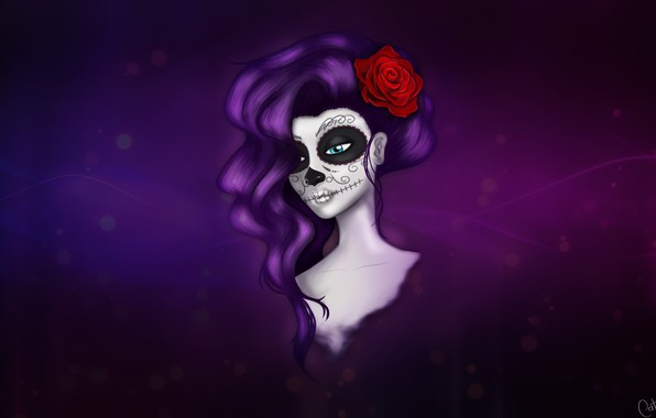 Picture Girl, Minimalism, Style, Background, Calavera, Illustration, Day of the Dead, Day of the Dead, Sugar …