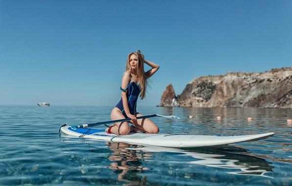 Picture swimsuit, water, Girl, wet, Board, Evgeny Freyer, Natalia Tarasenko