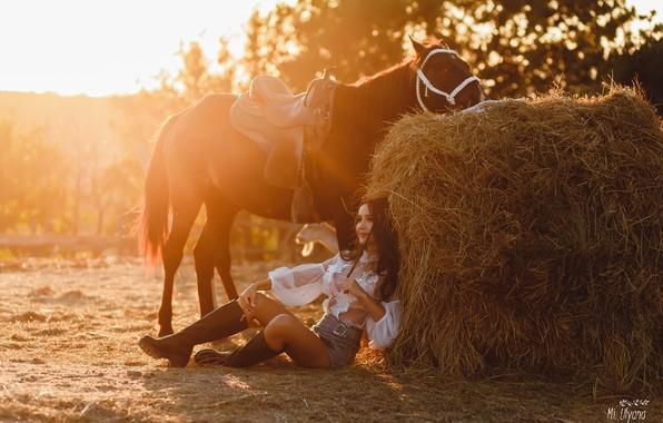Picture girl, pose, horse, horse, boots, hay, Kip, Juliana Mizinova, Анна Суворова