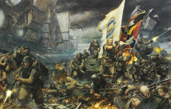 Picture soldier, war, flag, human, Warhammer 40 000, Imperial Guard, Astra Militarum