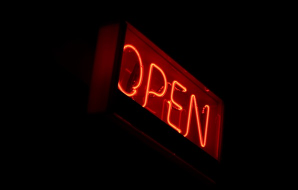 Picture background, black, neon, sign, open, open