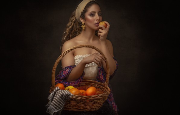 Picture girl, decoration, Apple, fruit, basket, Mahdi Ghannad