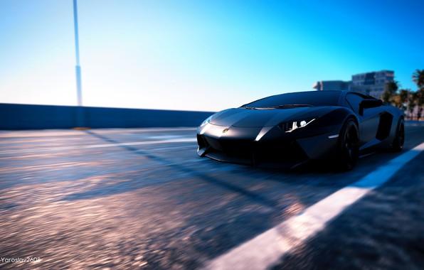 Picture game, car, Lamborghini, Lamborghini aventador, black edition, Lamborgini Aventador, The Crew 2