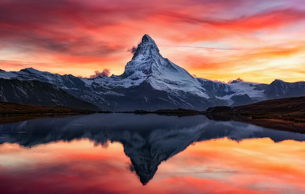Picture the sky, clouds, reflection, sunset, mountains, lake, rocks, paint, the evening, Alps, top, Matterhorn, The …