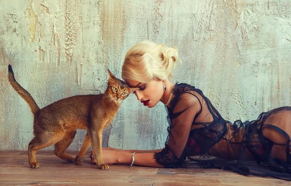 Picture cat, girl, Vesna, Sergey Yakubitskiy