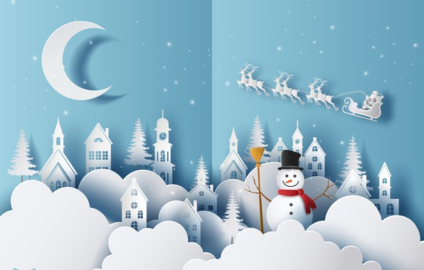Picture winter, snow, holiday, new year, snowman
