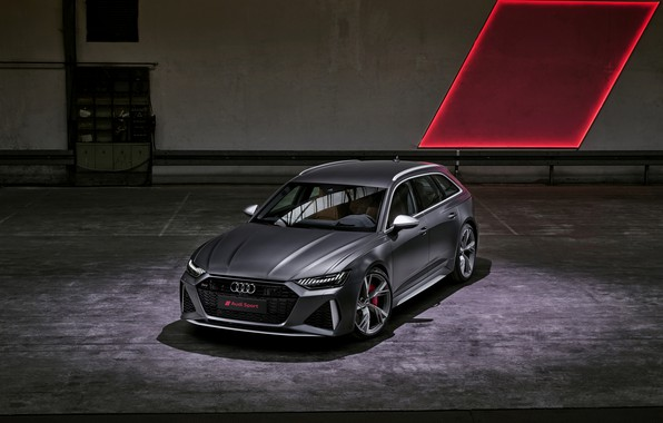 Picture Audi, the room, universal, RS 6, 2020, 2019, dark gray, V8 Twin-Turbo, RS6 Avant