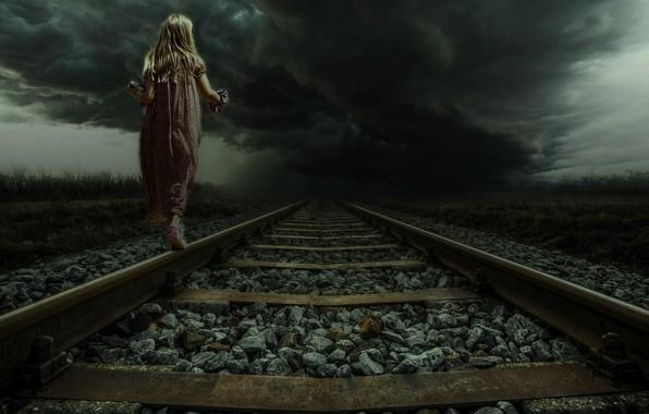 Picture Clouds, Road, Clouds, Girl, The storm, Girl, The way, Landscape, Rails, Clouds, Art, Art, Landscape, …