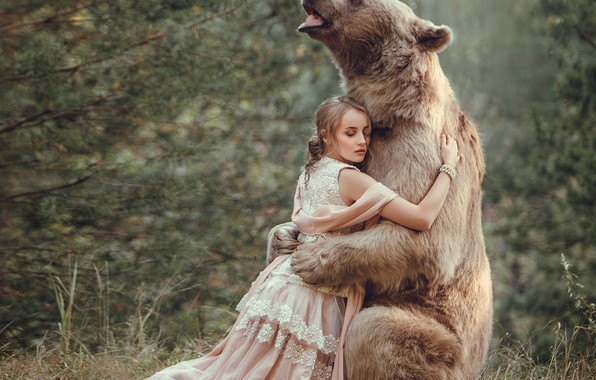 Picture forest, girl, dress, bear, friendship, friends, hugs, Olga Veremeeva