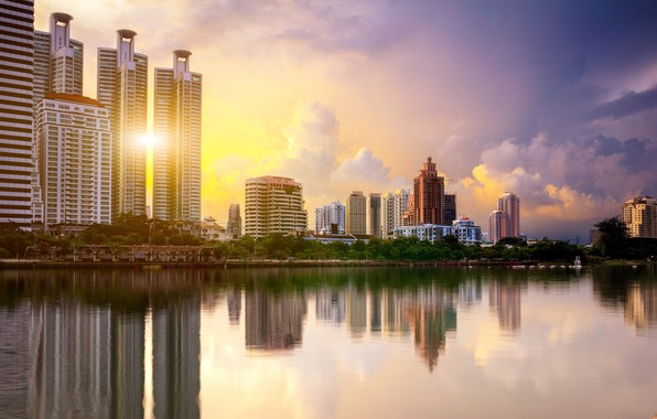 Picture the city, lake, morning, Thailand, Bangkok