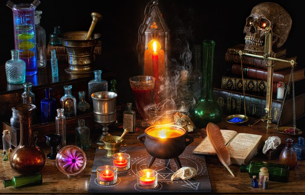 Picture bubbles, pen, magic, books, skull, candles, Halloween, bowler, bulb, witchcraft, Libra, mortar