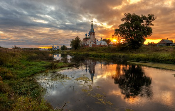 Picture landscape, sunset, nature, river, village, the evening, Bank, temples, Ed Gordeev, Dunilovo, Gordeev Edward, Eduard …