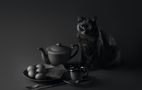 Picture cat, eyes, mustache, look, table, background, Breakfast, muzzle, cat, background, look, breakfast, table, black cat, ...