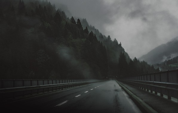 Picture Road, Bridge, Forest, Sadness, The darkness, Rain, Darkness, Bridge, Rain, Road, Forest, The atmosphere, Atmosphere, ...