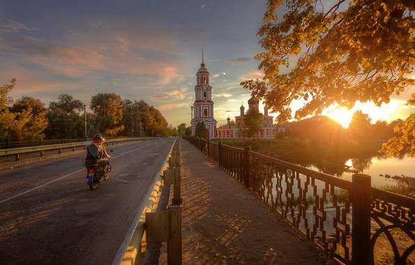 Picture road, sunset, the city, river, Cathedral, Ed Gordeev, Gordeev Edward, Eduard Gordeev, Ed Gordeev, Polist, …