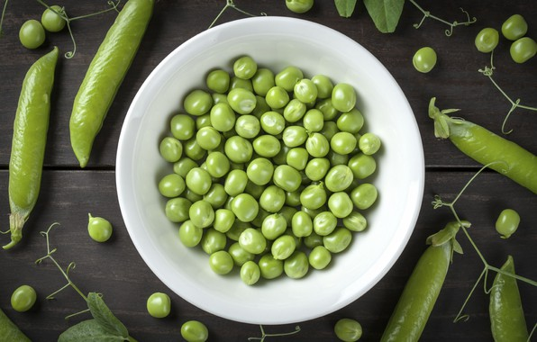 Picture peas, bowl, peas, pods