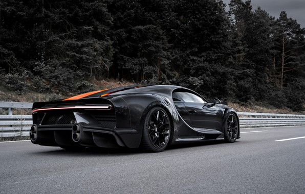 Picture asphalt, trees, Bugatti, hypercar, Chiron, Super Sport 300+
