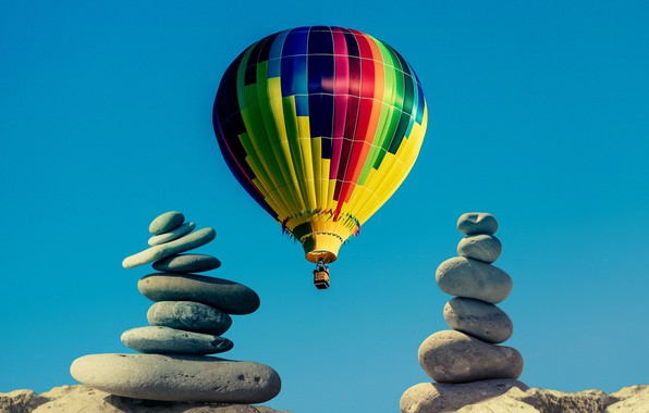 Picture the sky, balloon, stones