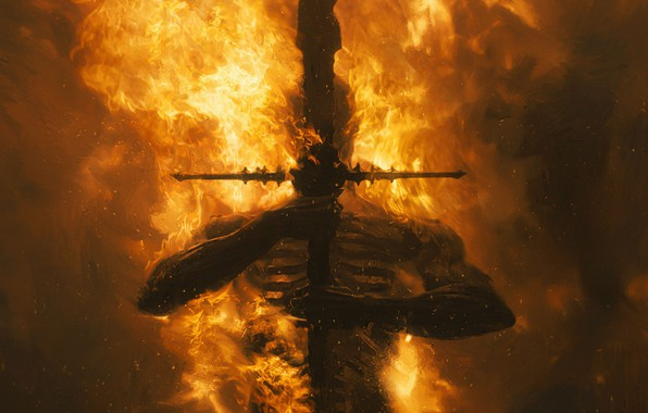 Picture fire, sword, art, dark fantasy, Ash Thorp, flamberg