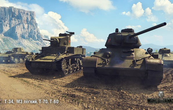 Picture T-34, WoT, World of Tanks, T-70, Wargaming, T-60, M3 light