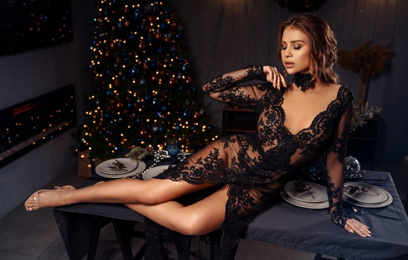 Picture girl, pose, style, dress, the cut, plates, neckline, New year, tree, legs, on the table, …