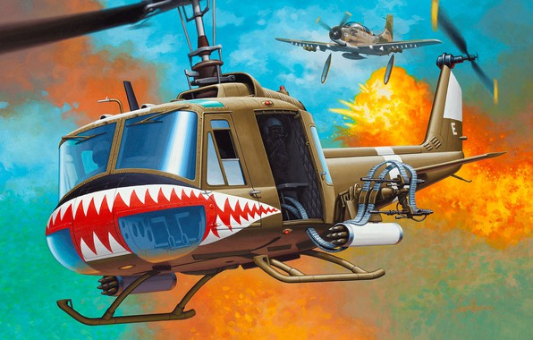 Picture Bell, UH-1, Iroquois, Huey, American multi-purpose helicopter