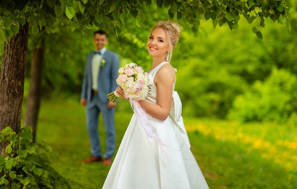 Picture love, nature, smile, bouquet, the bride, bokeh, the groom